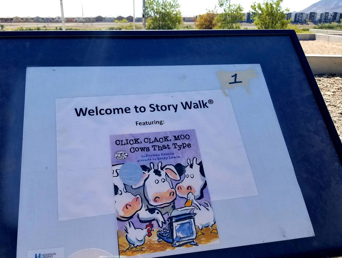 "New ""Click, Clack, Moo"" story pages were added in July to Cornerstone Park's ""Story Wal ..."