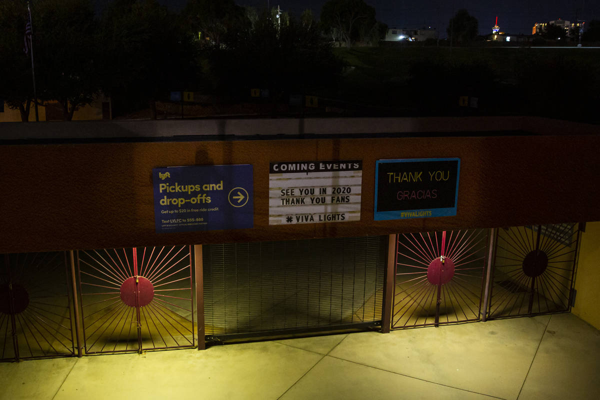 A quiet entrance gate at Cashman Field during the second half of a USL soccer game between the ...