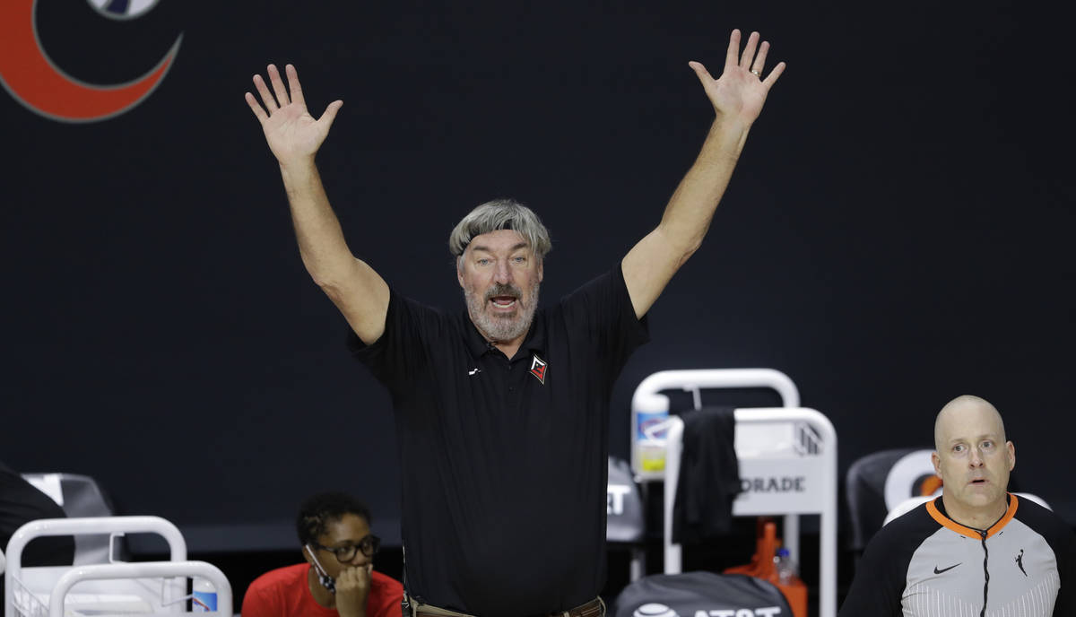 Las Vegas Aces head coach Bill Laimbeer during the second half of a WNBA basketball game agains ...