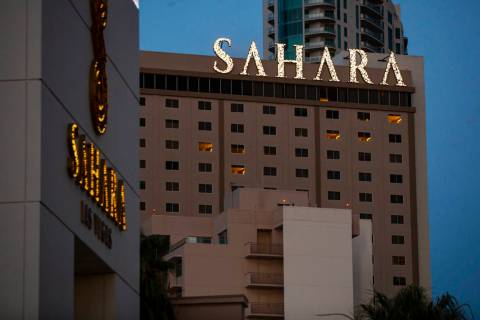 A view of the Sahara Las Vegas on Tuesday, July 21, 2020. (Chase Stevens/Las Vegas Review-Journ ...