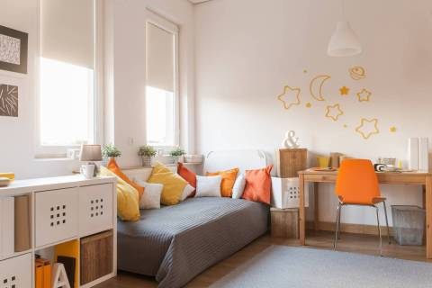 Design a bedroom to feel like a schoolroom by including cubby holes for books and art supplies. ...