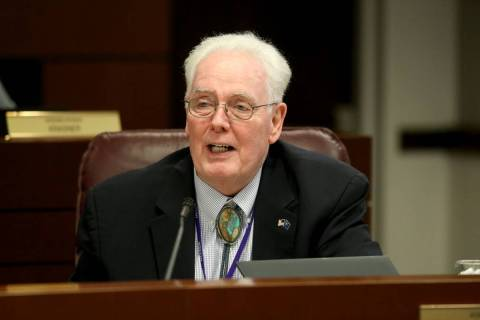 Assemblyman John Hambrick, R-Las Vegas, asks a question during an Education Committee meeting i ...