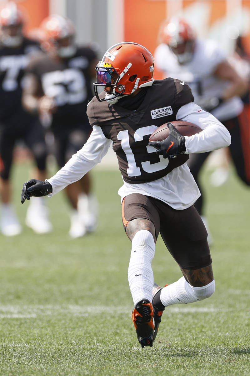 Cleveland Browns wide receiver Odell Beckham Jr. runs after a catch during practice at the NFL ...