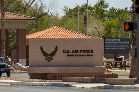 Nellis Air Force Base, seen in May 2020 in Las Vegas. (L.E. Baskow/Las Vegas Review-Journal) @L ...