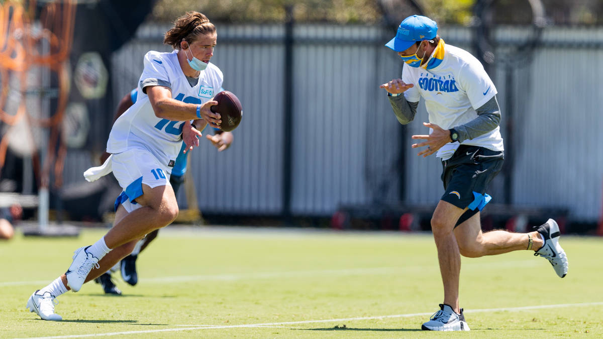 The Los Angeles Chargers 2020 Rookie Class works out on Thursday, July 30, 2020 at Hoag Perform ...
