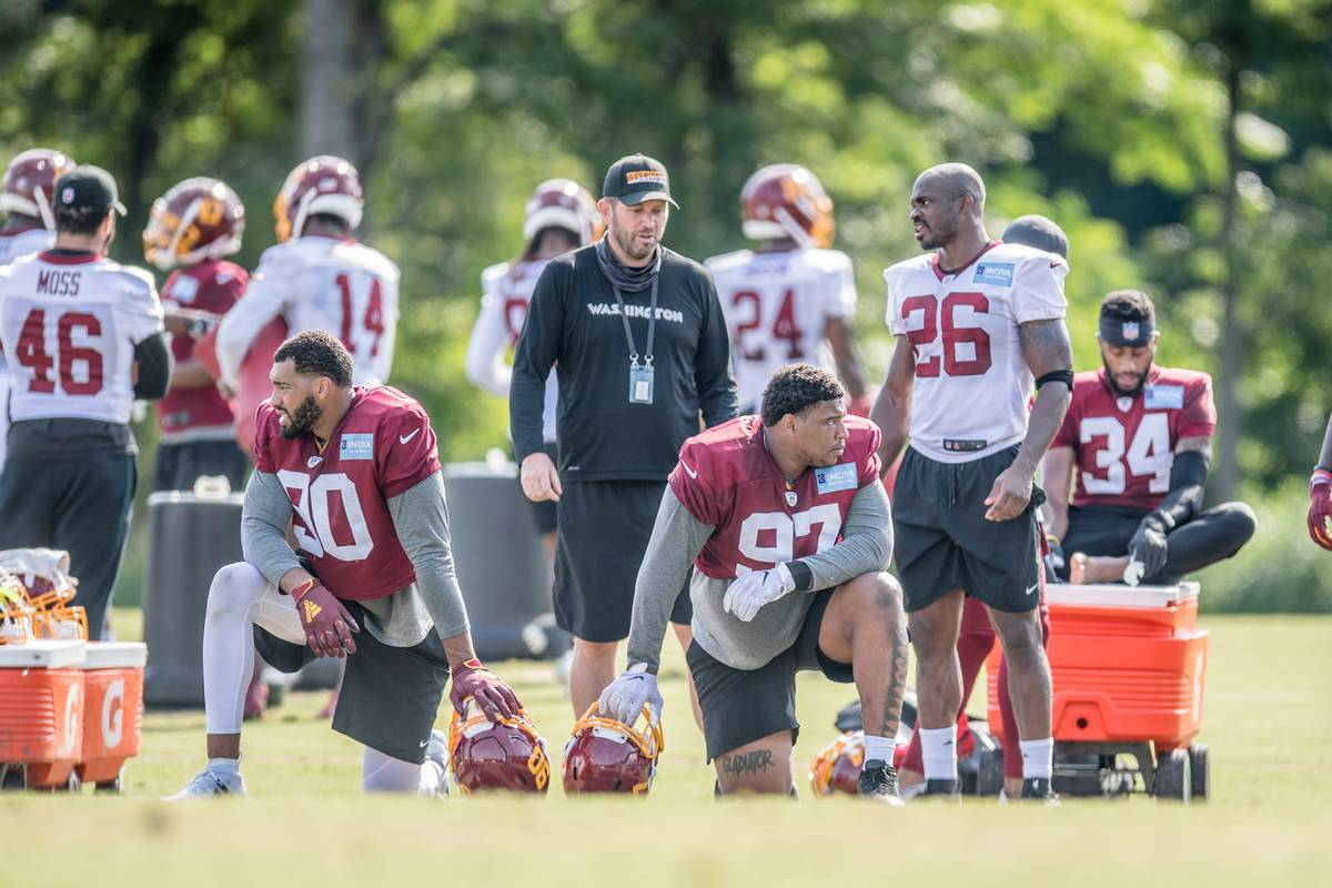 Washington offensive coordinator Scott Turner, middle, watches a recent practice. Photo courtes ...