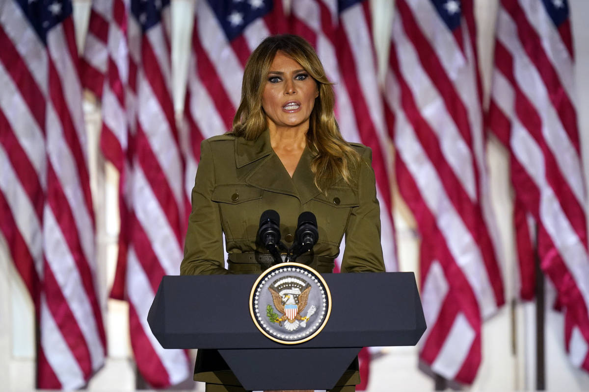 First lady Melania Trump speaks on the second day of the Republican National Convention from th ...