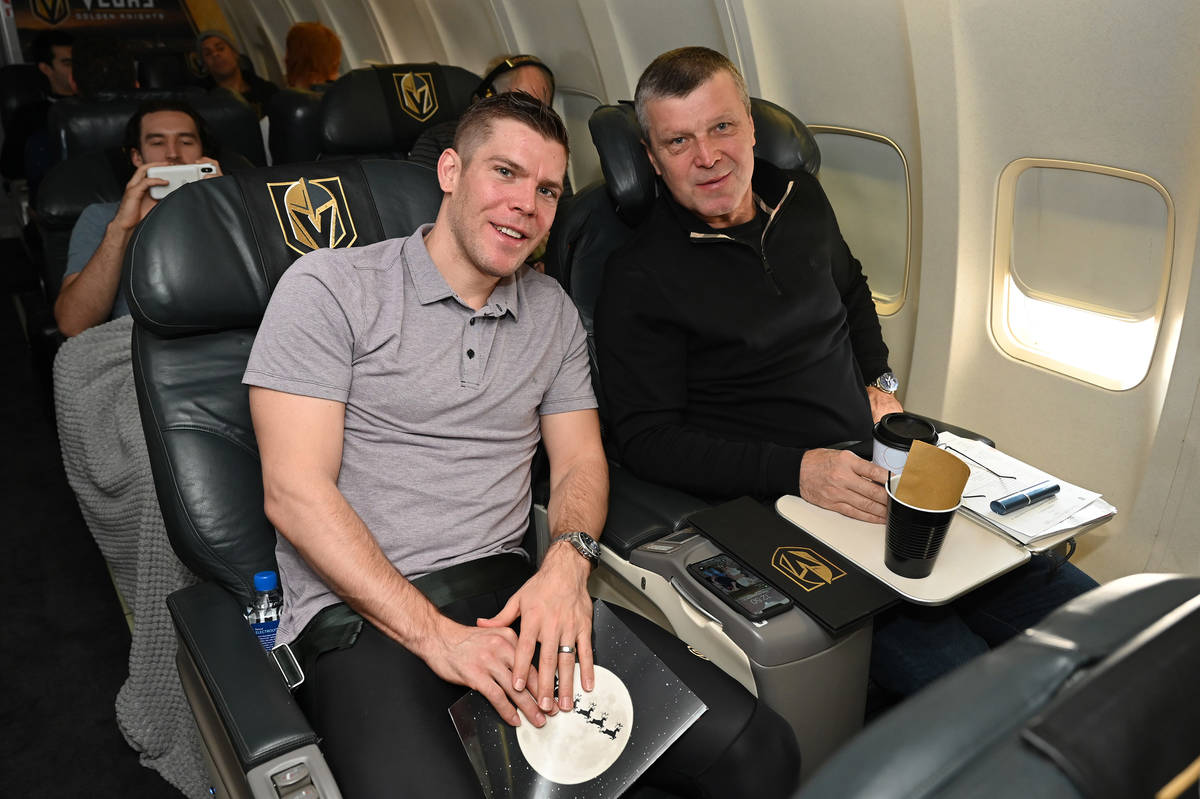 Paul Stastny, left, is shown with his father, Peter Stastny. (Vegas Golden Knights)