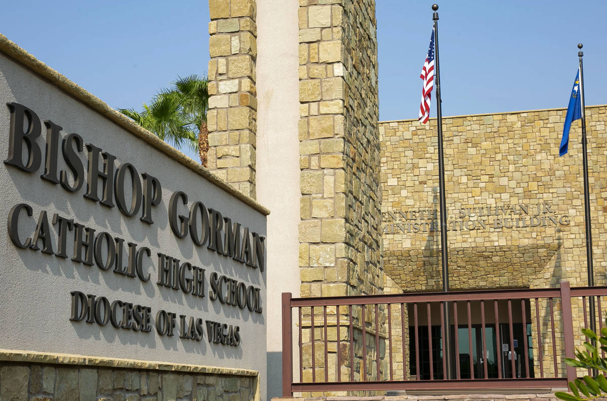 Bishop Gorman Catholic High School photographed on Friday, Aug. 21, 2020, in Las Vegas. Bishop ...