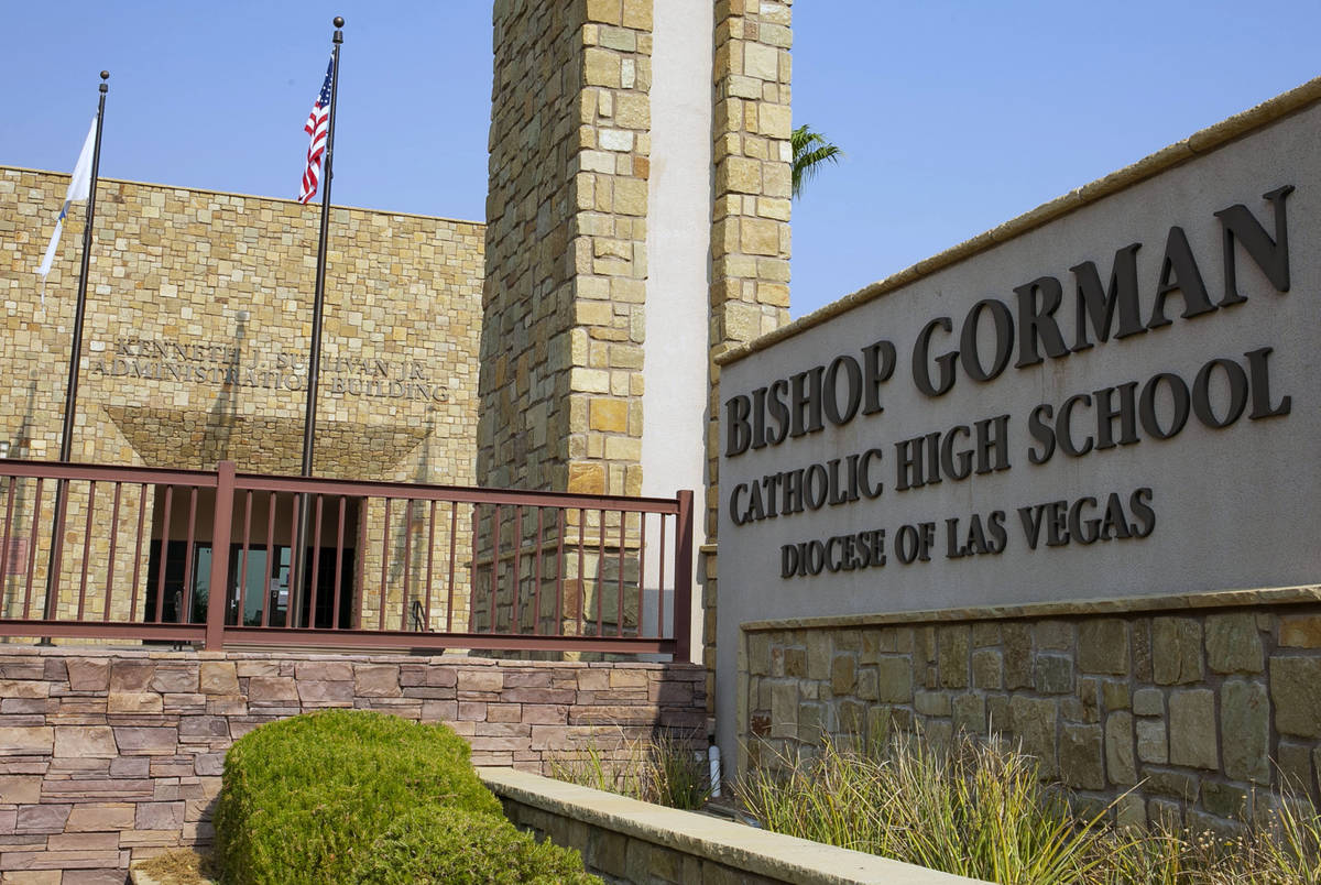 2Bishop Gorman Catholic High School photographed on Friday, Aug. 21, 2020, in Las Vegas. Bishop ...