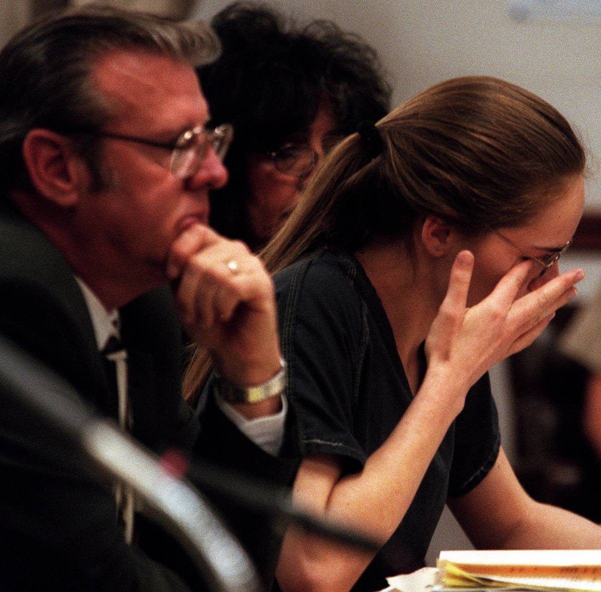 Jessica Williams wipes a tear while giving her statement during sentence on Friday. (Las Vegas ...