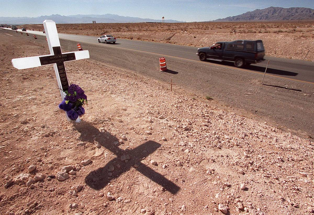 This is March 19, 2002, file photo shows a memorial to Jessica Williams' victims on Interstate ...