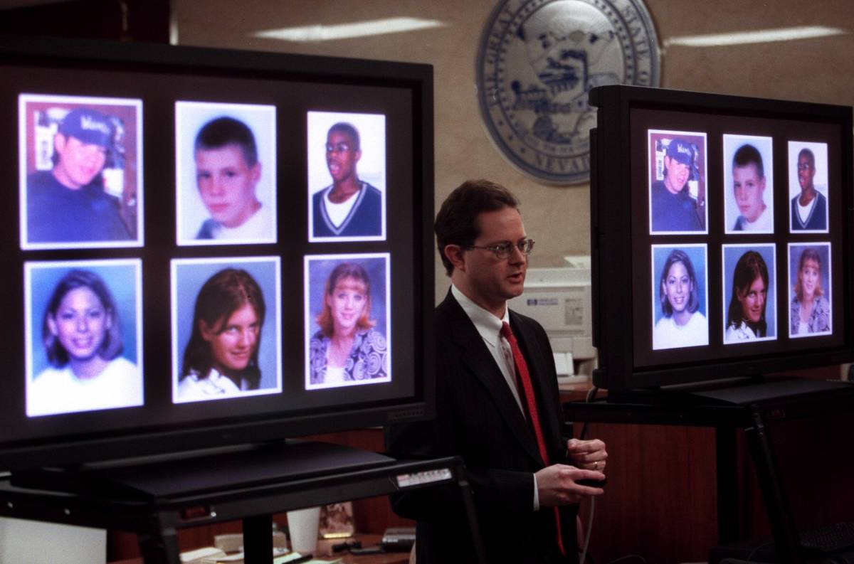 Prosecutor Jim Hartsell shows the crash victims to the jury during closing on arguments in the ...
