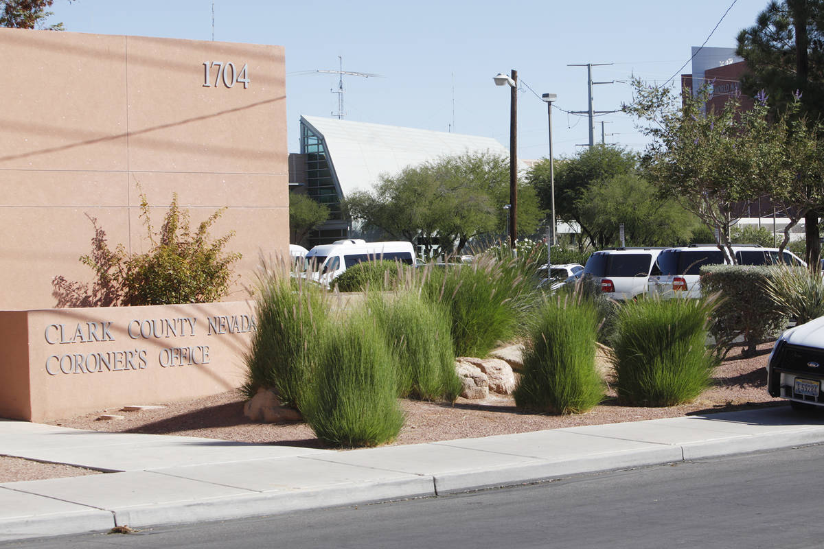 A police car outside the Clark County Coroner's office in Las Vegas, Monday, Oct. 2, 2017. Rach ...