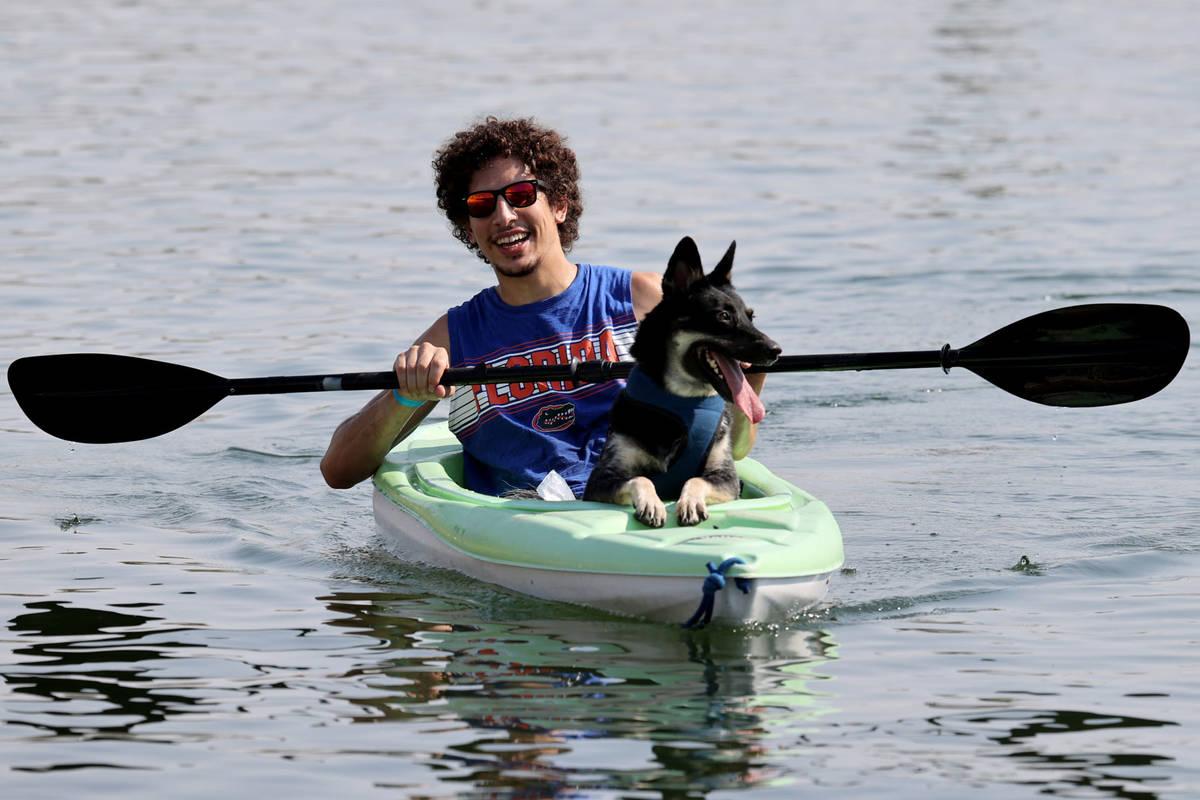 Josh Brooks with Bane of Las Vegas kayak during Bring Your Dog to the Lake Day at Lake Las Vega ...