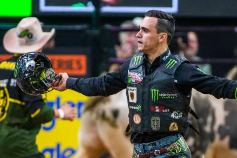 Jose Vitor Leme celebrates keeping his first place spot after riding BootDaddy.com during the f ...