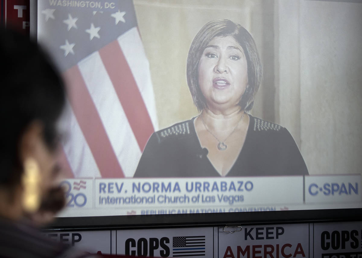 The Rev. Norma Urrabazo, of the International Church of Las Vegas, speaks at the Republican Nat ...