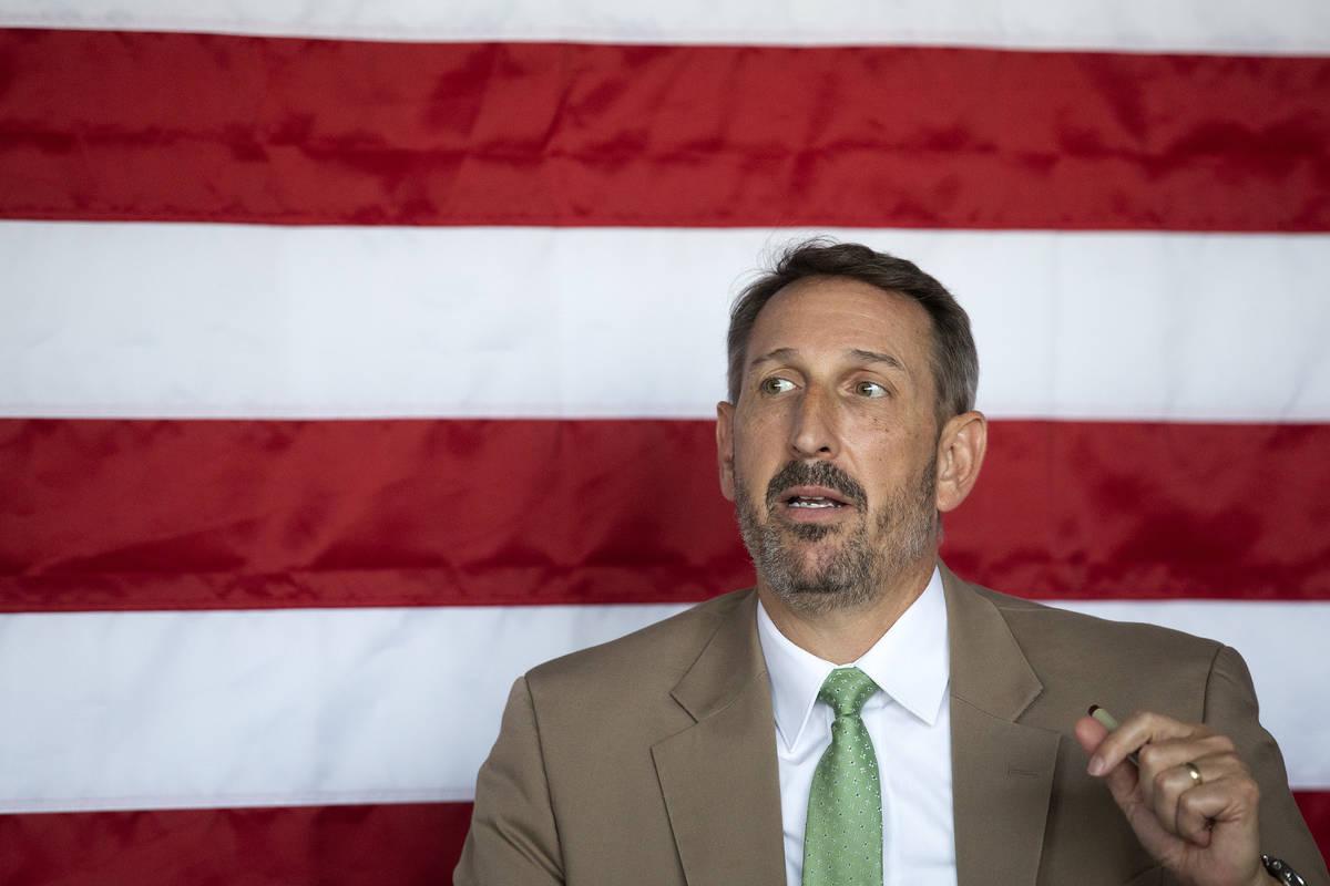 "Sen. Scott Hammond, R-Las Vegas, answers questions about education at a ""MAGA Meet-Up&quot ..."