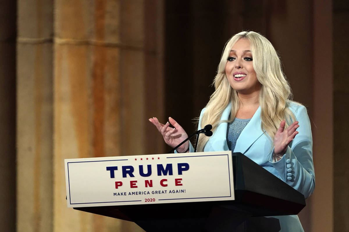 Tiffany Trump speaks as she tapes her speech for the second day of the Republican National Conv ...
