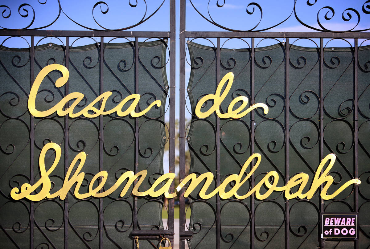 In this Oct. 7, 2011, file photo, a gate to Casa de Shenandoah, the Las Vegas estate of Wayne N ...