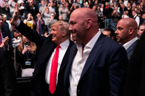President Donald Trump and UFC president Dana White arrive at Madison Square Garden to attend t ...