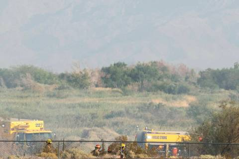 The Clark County Fire Department is fighting a fire at the Clark County Wetlands Park, on Thurs ...