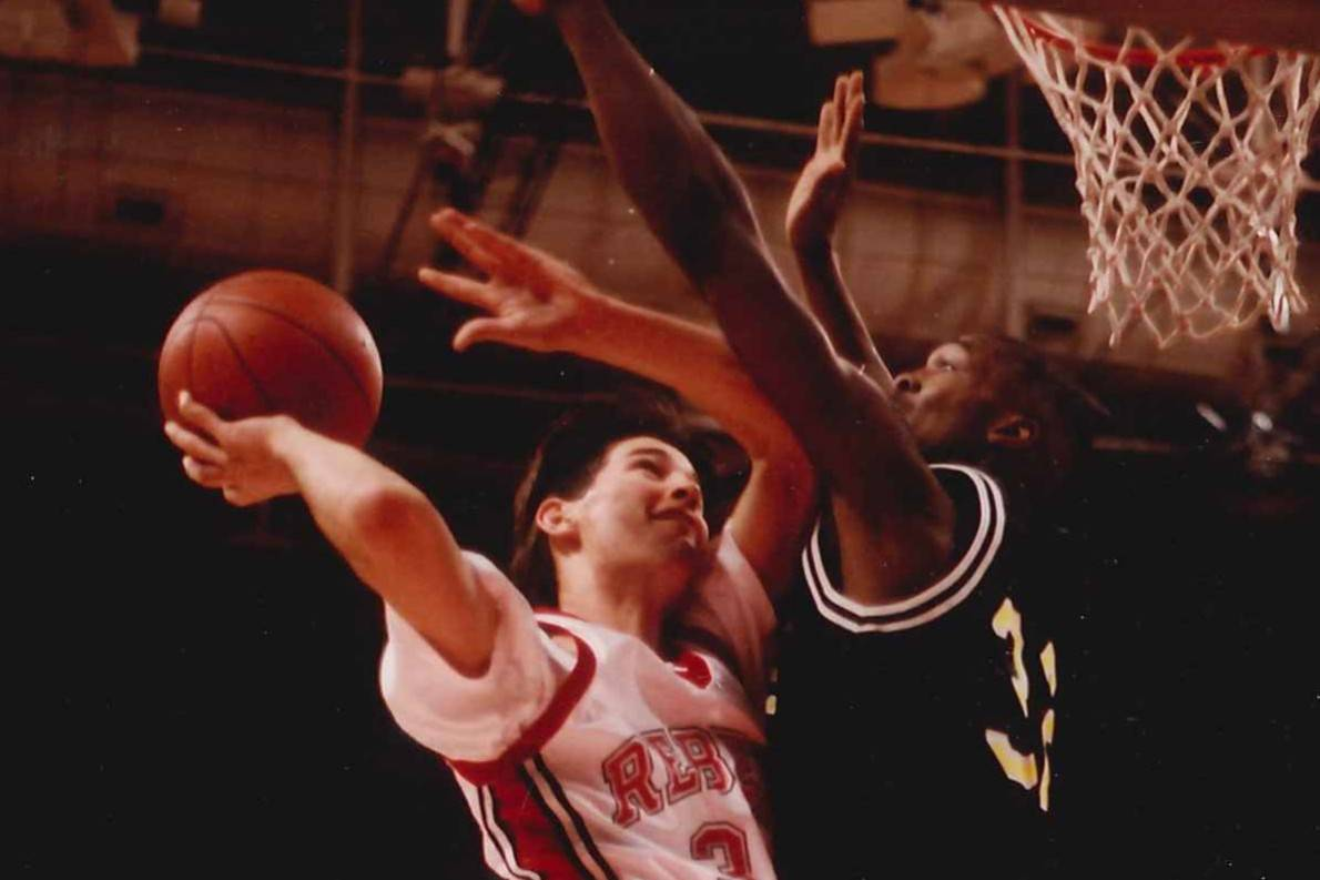 UNLV's H Waldman goes up for a basket against Long Beach State on Jan. 9, 1992, at the Thomas & ...