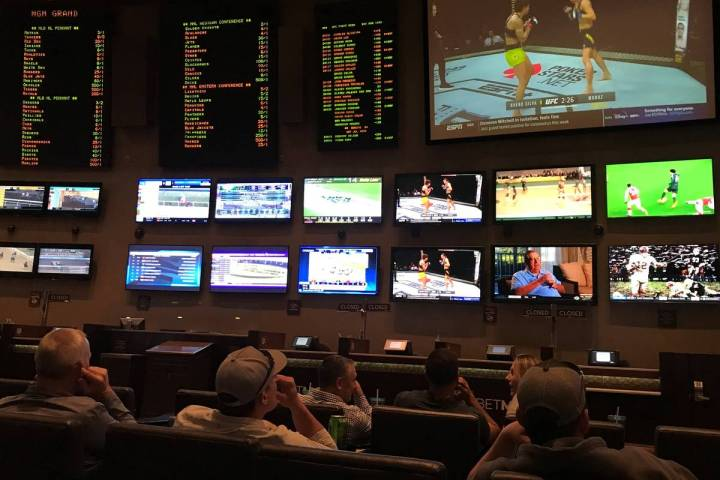 MGM Grand Race & Sports Book on Saturday, March 14, 2020, in Las Vegas. (Ellen Schmidt/Las ...