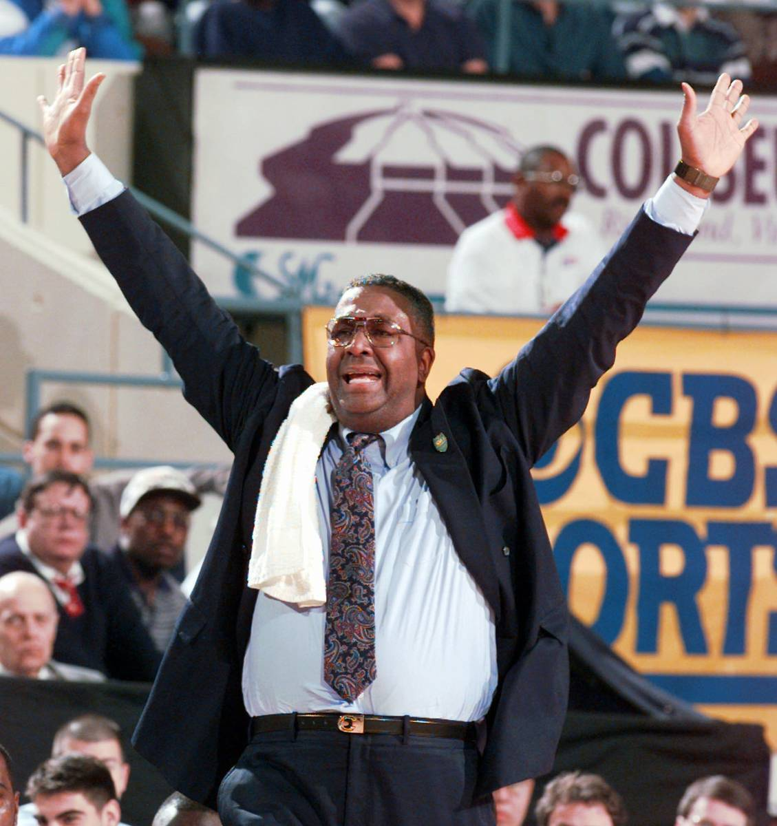 FILE - In this March 15, 1996, file photo, Georgetown head coach John Thompson yells to his pla ...