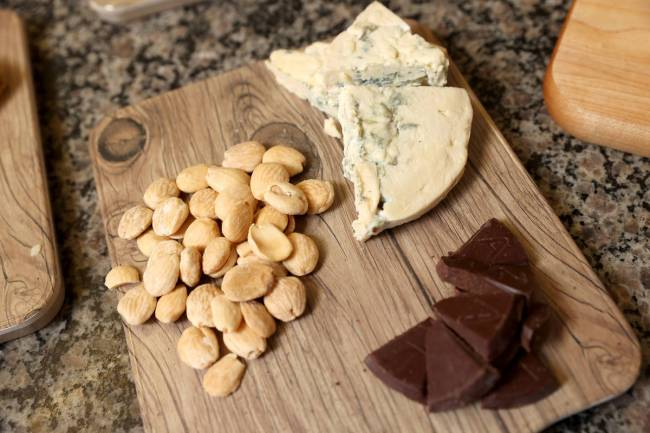 Marcona Almonds and Taza Mexican salted almond chocolate make excellent accompaniments to chees ...