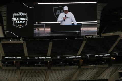 Las Vegas Raiders owner Mark Davis addresses the team before a team practice at Allegiant Stadi ...