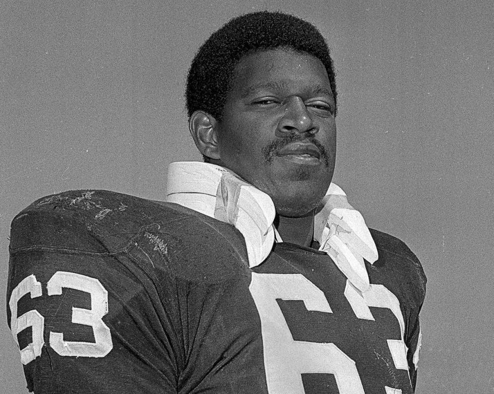 FILE - In this Aug. 15, 1970, file photo, Gene UpShaw poses when he was playing left guard for ...