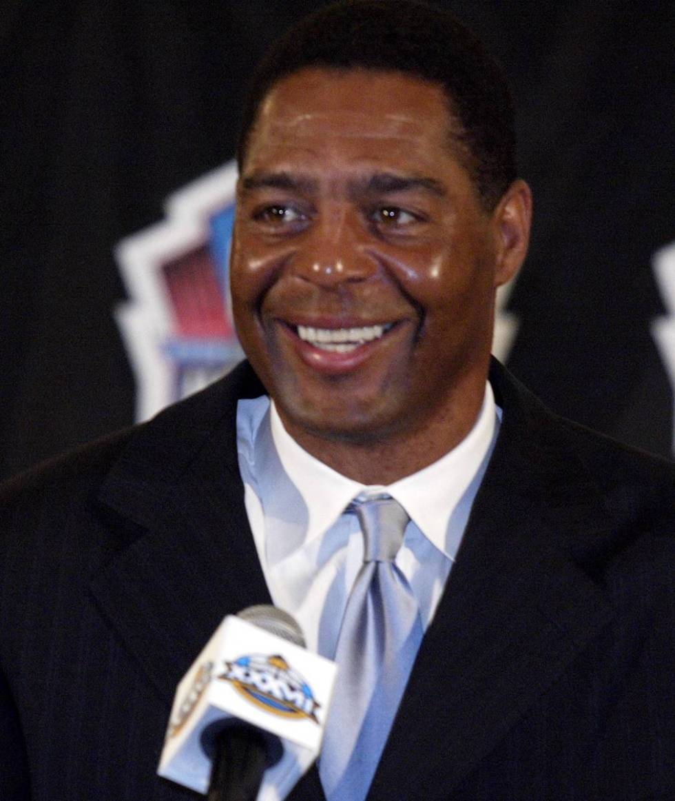 Marcus Allen displays a big smile at news conference Saturday, Jan. 25, 2003, in San Diego, whe ...