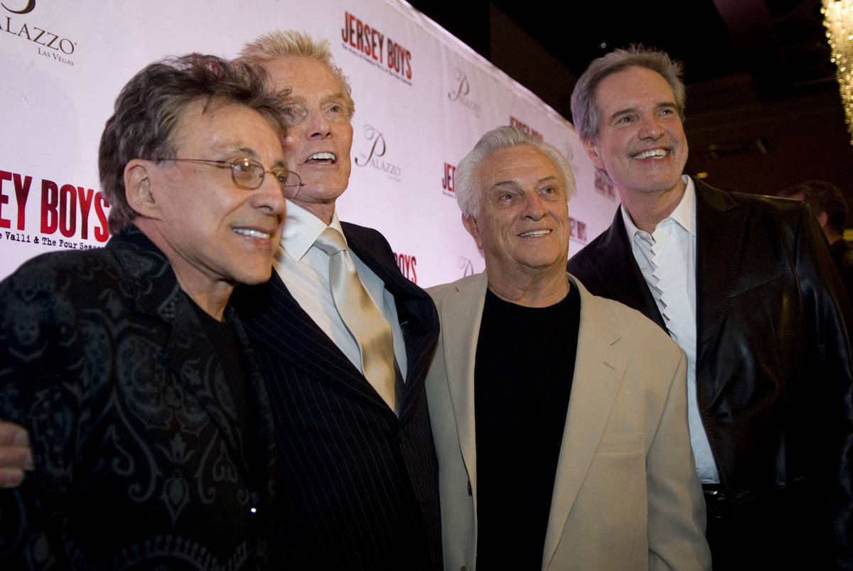 Four Seasons producer Bob Crewe, second from left, is flanked by original members of the singin ...