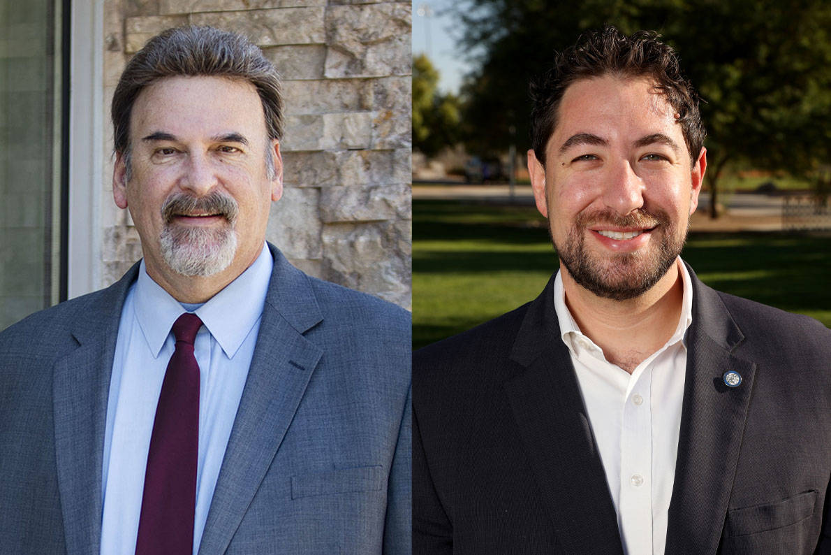Michael Thomas, left, and Michael Naft, candidates for Clark County Commission, District A (Rac ...