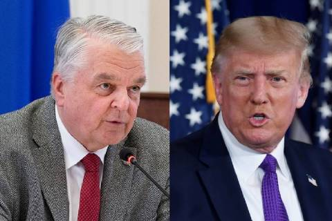 Nevada Gov. Steve Sisolak, left, and President Donald Trump (Las Vegas Review-Journal and The A ...