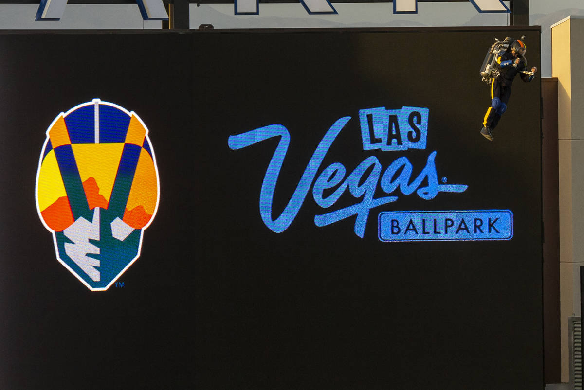The Aviator hovers into the ballpark during the pregame events at the Las Vegas Aviators home o ...