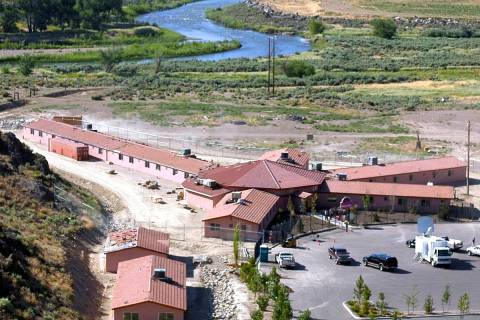 This Friday, July 1, 2005, file photo, shows the Mustang Ranch in the Truckee River canyon near ...