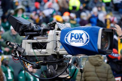 Fox Television camera on the field before an NFL football game between the Chicago Bears and th ...