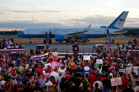 President Donald Trump speaks during a campaign rally at Manchester-Boston Regional Airport, Fr ...
