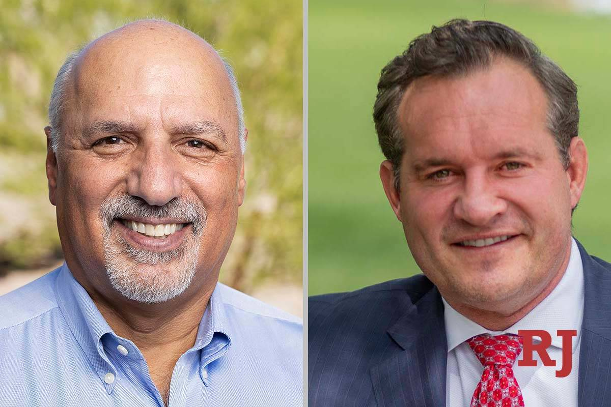 Stavros Anthony, left, and Ross Miller, candidates for Clark County Commission District C (Las ...