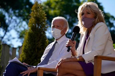 Democratic presidential candidate former Vice President Joe Biden and his wife Jill Biden meet ...
