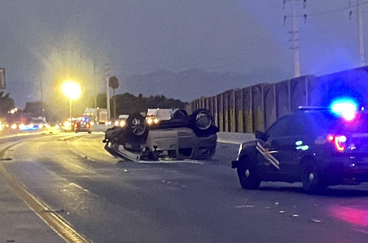 A Hummer H2 ended on its roof after a deadly wrong-way crash early Friday, Sept. 11, 2020. The ...