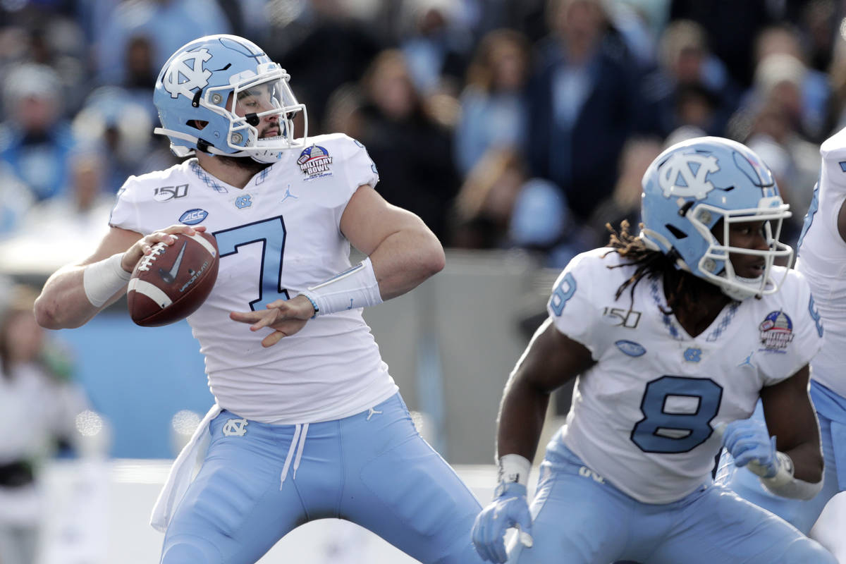 In this Dec. 27, 2019, file photo, North Carolina quarterback Sam Howell throws a touchdown pas ...