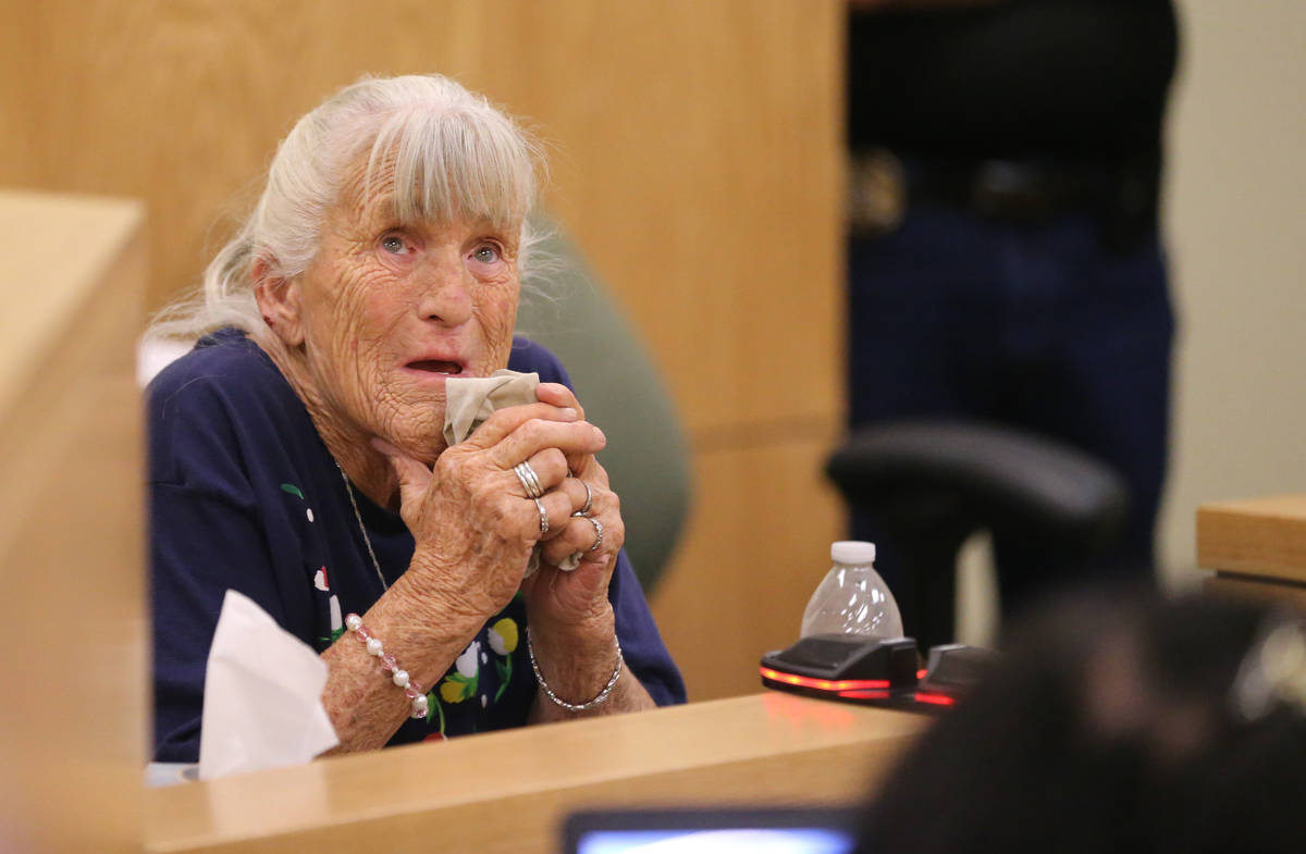 Donna Liebig, mother of Dawn Liebig, during the preliminary trial in Pahrump Justice Court Thur ...