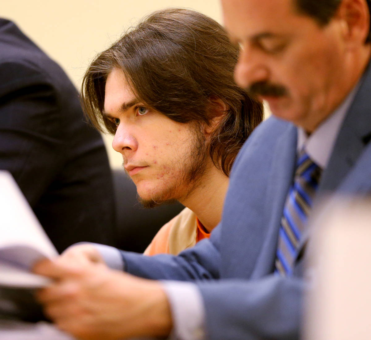 Michael Wilson, left, with his attorney Carl M. Joerger during a preliminary hearing in Pahrump ...