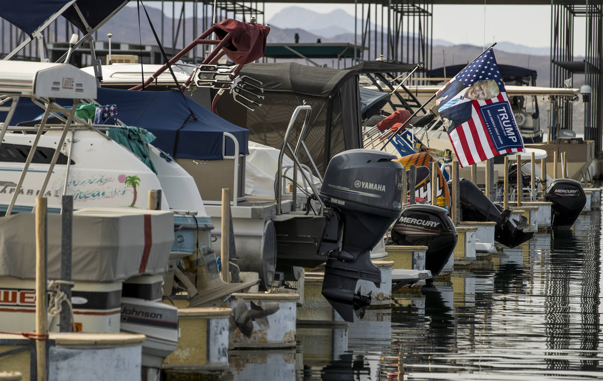 Some boats are already prepared for the President Donald Trump boat parade Saturday at the Lake ...