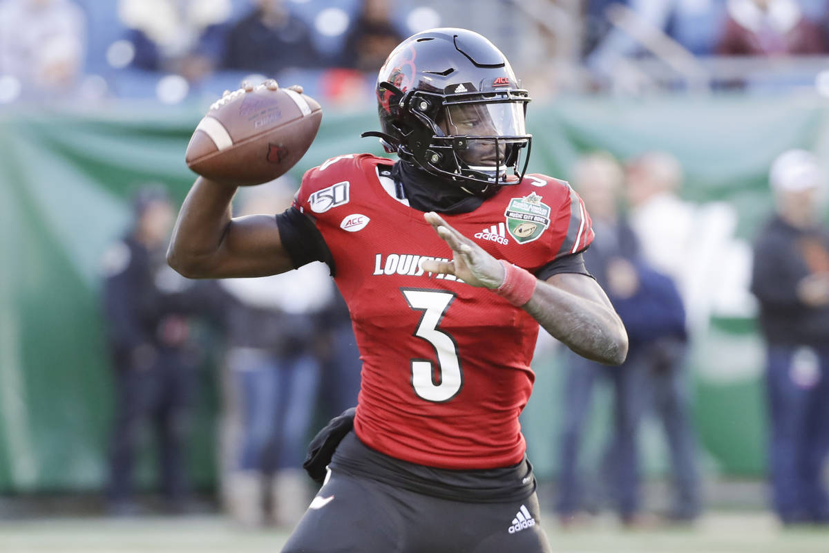 Louisville quarterback Micale Cunningham (3) plays against Mississippi State in the Music City ...