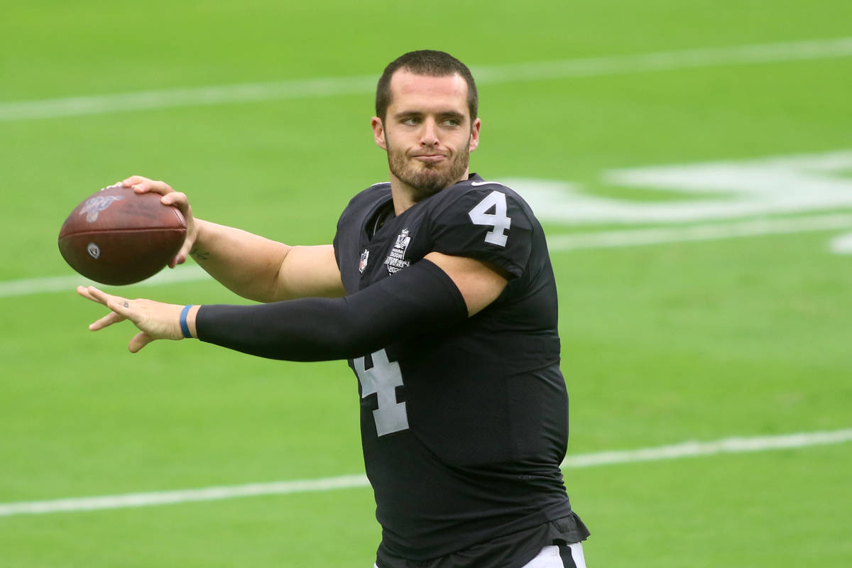 Las Vegas Raiders quarterback Derek Carr (4) throws the ball during a team practice at Allegian ...