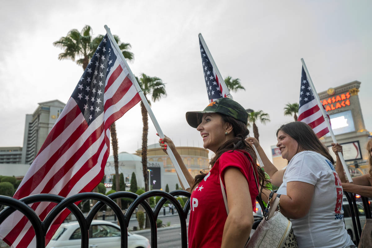 Christy Kettler, left, Reopen Nevada supporter, and Heather Florian, running for Nevada State A ...